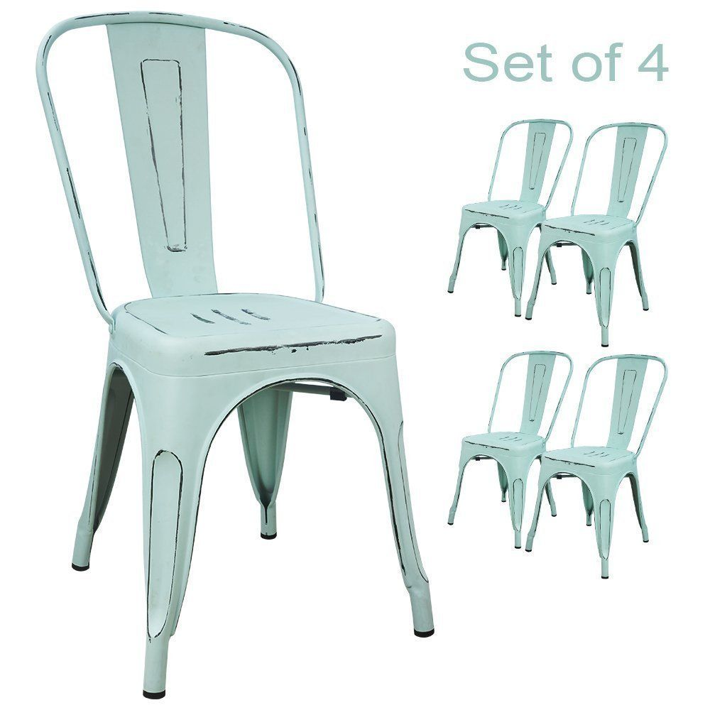 Tolix style chairs in light blue, set of 10. 10 Fixer Upper Paint