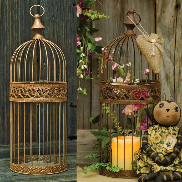 RUSTIC BIRDCAGE Primitive Country Rusty Wire Bird Cage Decorative Home Decor