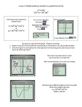 Graphing Calculator Worksheet - Synhoff