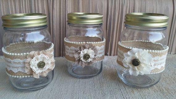 Burlap Mason JarBurlap and Lace Mason Jar от SouthernRusticMomma