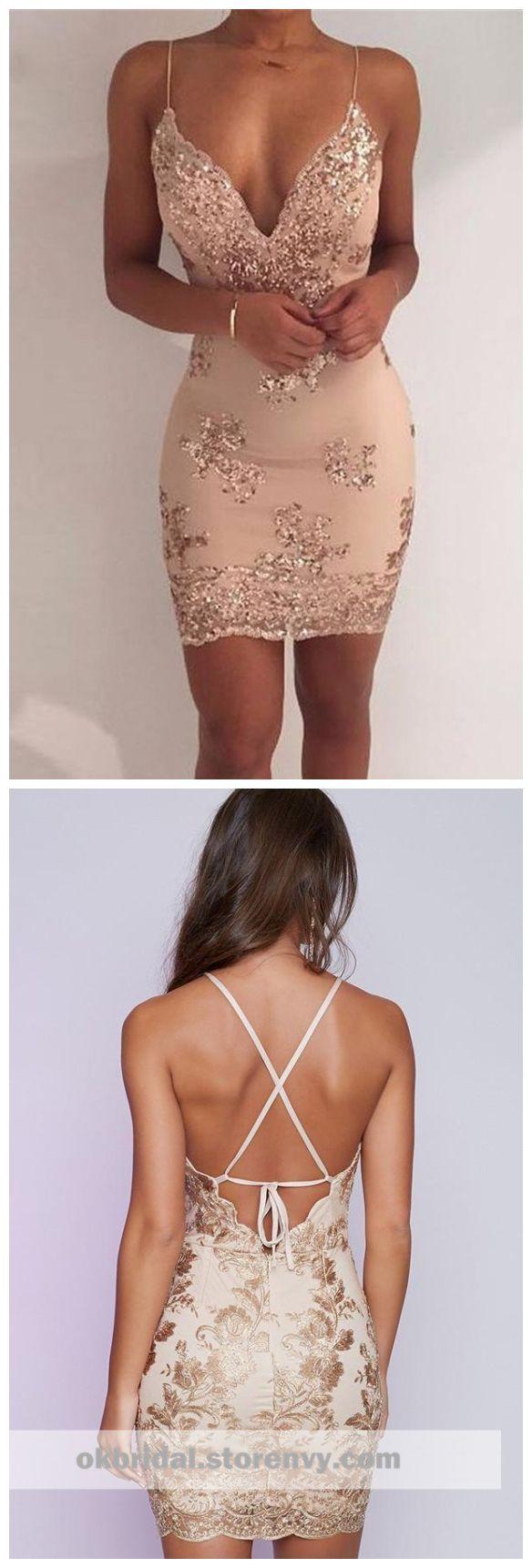 Spaghetti straps v neck mermaid tight homecoming dresses cm