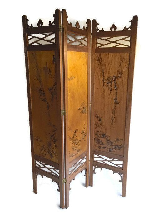 vintage wood folding screen carved japanese privacy screen fretwork chinoiserie home decor japanese zen garden room