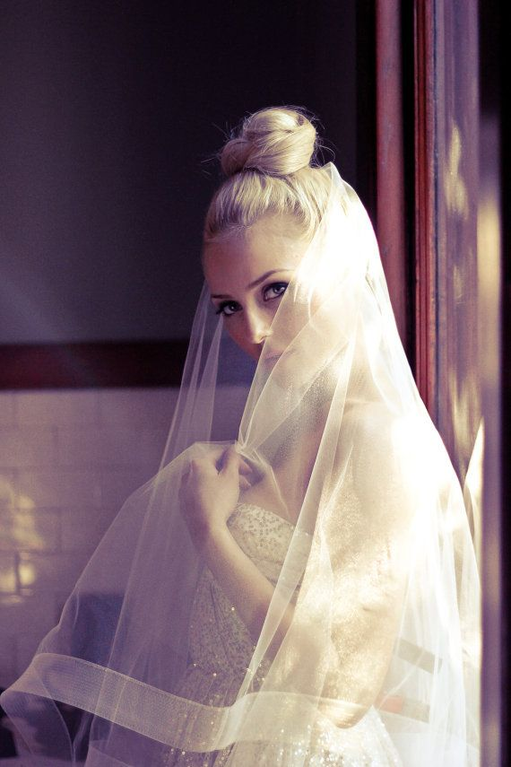 Bridal Drop Wedding Veil with Thick Horse Hair Border, Simple Ivory ...