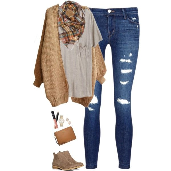 Camel cardigan with plaid scarf & pocket tee by steffiestaffie on Polyvore featuring Mlle Mademoiselle, J Brand, Dorothy Perkins, Tory Burch, Marc Jacobs, Kendra Scott and NARS Cosmetics