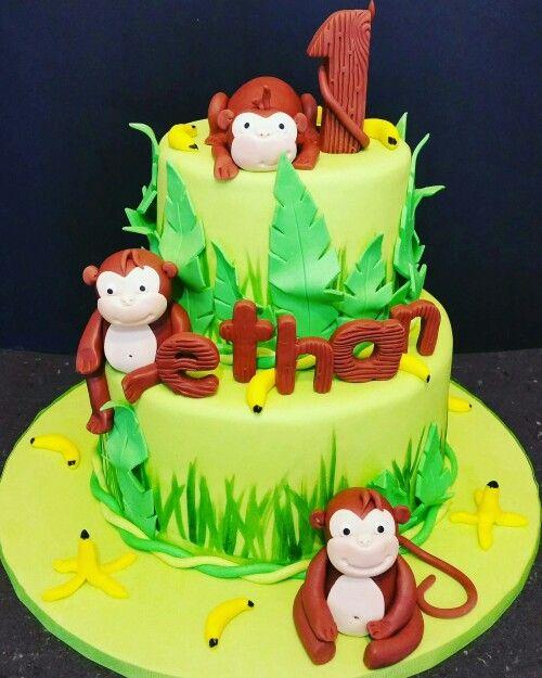 Monkey 1st Birthday Cake 1st Birthday Cakes Pinterest Birthday
