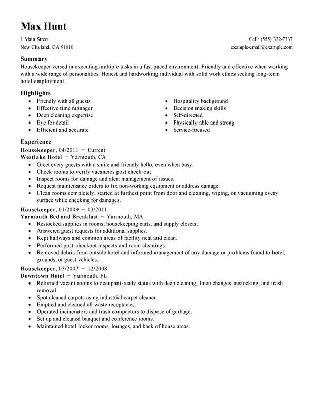 housekeeping job description for resumes