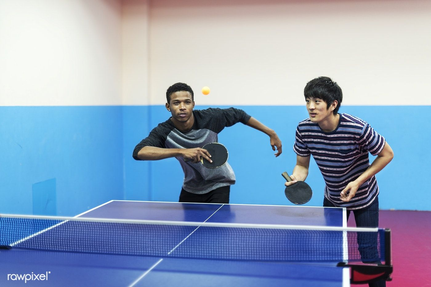 Friends playing table tennis free image by