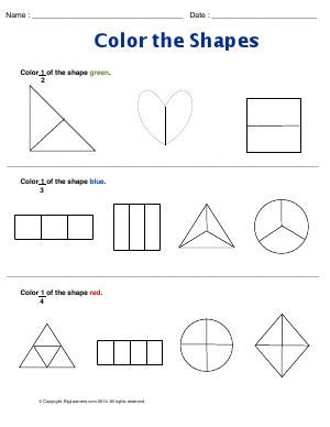 Worksheet Color The Shapes Understanding 1 2 1 3 And 1 4 Of The Fraction Fractions Worksheets Worksheet Template Worksheets