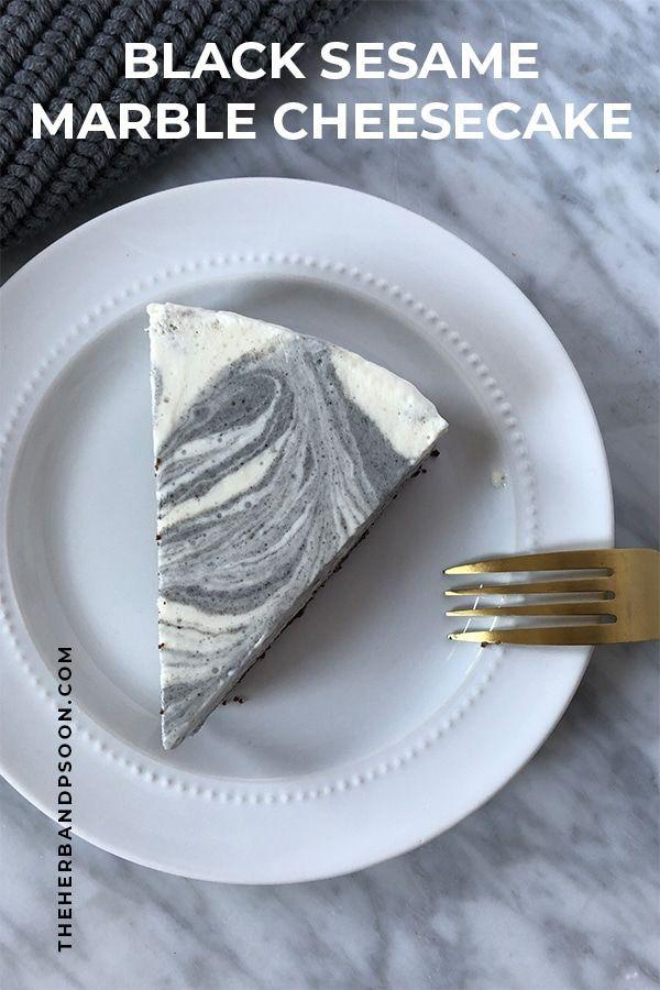black sesame marble cheesecake  recipe  marble