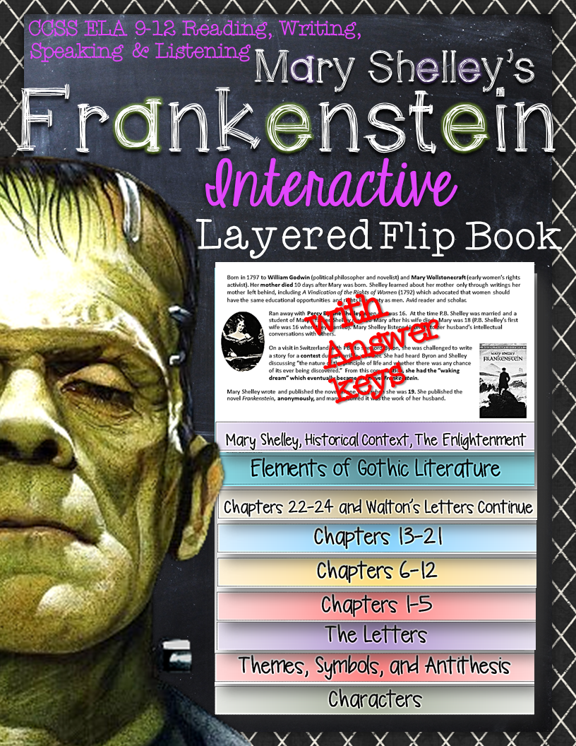 Frankenstein Novel Study Literature Guide Flip Book High School
