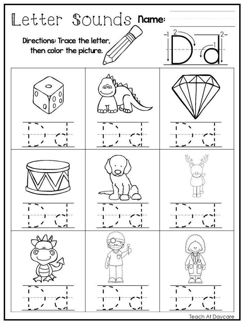 26 Printable Alphabet Letter Sounds Worksheets Preschool Kdg Etsy In 2020 Printable Alphabet Letters Letter Sounds Lettering Alphabet