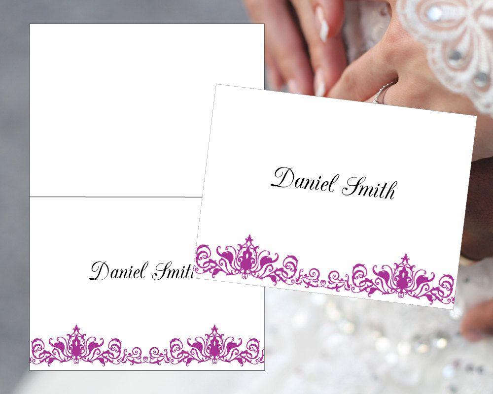 Wedding Template DIY Place Cards Plum Card