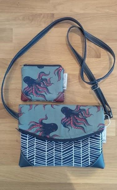 Octopus bags by Cloud Rabbit Designs. Fabric & Vegan Leather