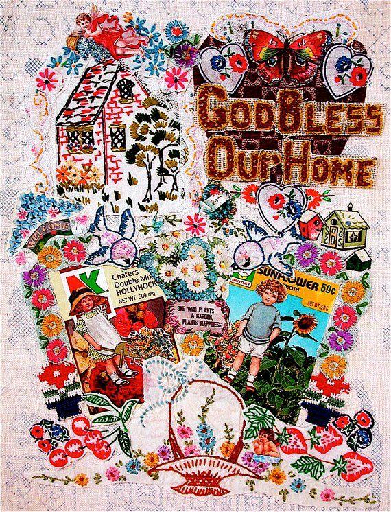 GOD BLESS Our HOME Christian Folk Art Print 11 X 14