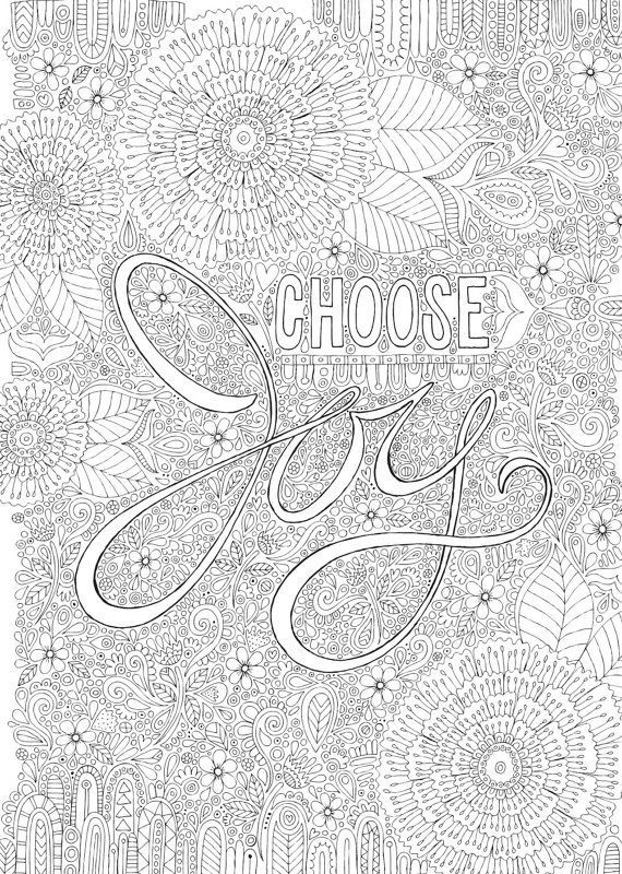 Choose joy colour me hello angel coloring design, love mandala coloring pages