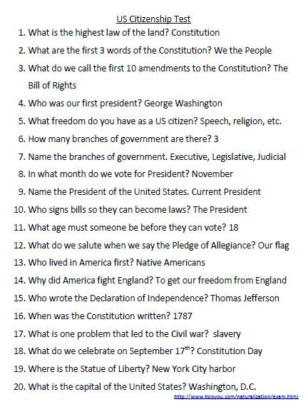 US Citizenship Test & answers.....honey needs this to study and ...