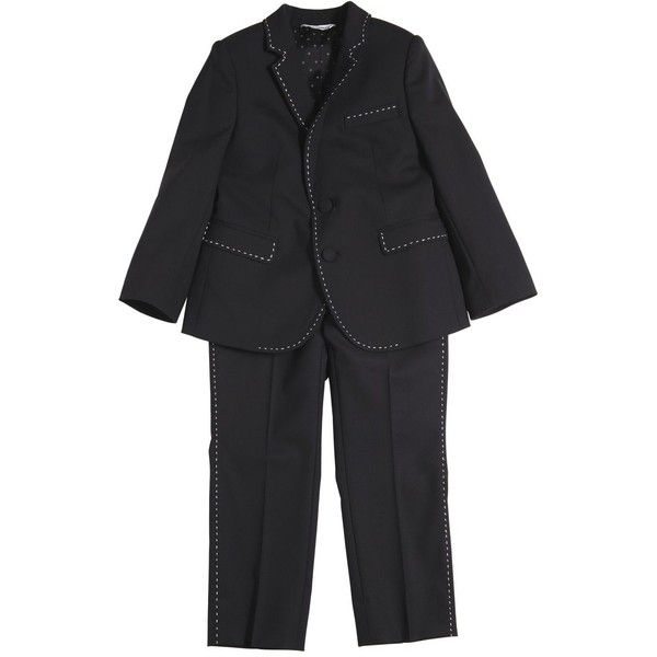 Dolce & Gabbana Kids-boys Wool Suit W/ Contrasting Color Stitching (8.405 NOK) ❤ liked on Polyvore featuring black