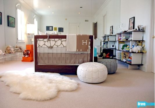 Boy Nursery (book shelf, bedding different color skirt to sheet)