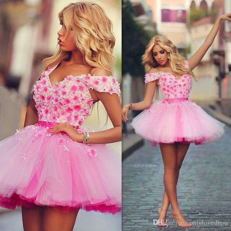 Short prom dress,2016 homecoming dresses,Pink flowers prom dress ...