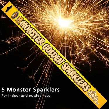 Monster Sparklers pack of 5 4588SCX Monster Sparklers pack of 5Brighten up any party with this pack of 5 Monster Sparklers!Each sparkler is 18 inches long and built for some serious fun! Each sparkler burns for approximately 80 seconds  http://www.MightGet.com/january-2017-13/monster-sparklers-pack-of-5-4588scx.asp