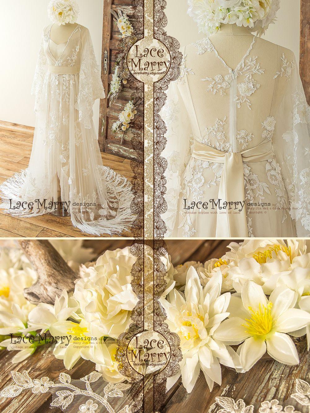piece bohemian lace wedding dress with kimono sleeves kaftan