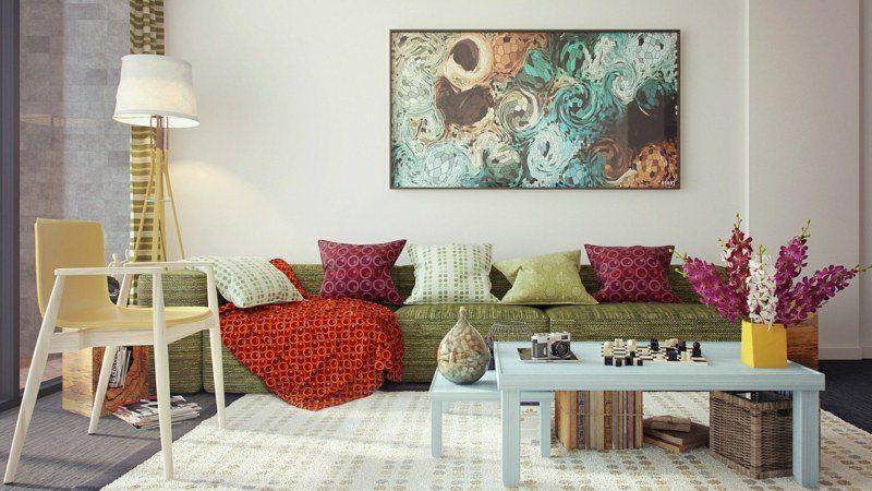 Décoration de salon idées avec coussinstableaux et rideaux