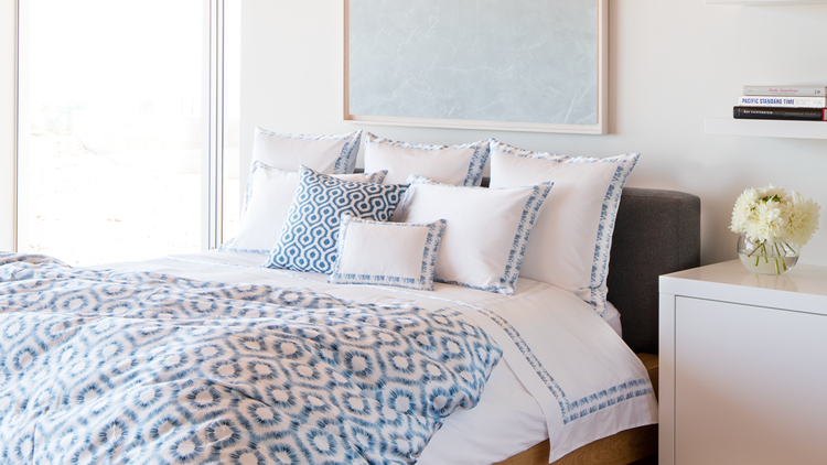 Abstract Ikat Duvet Bedding And Shams In Indigo Blue Blue And