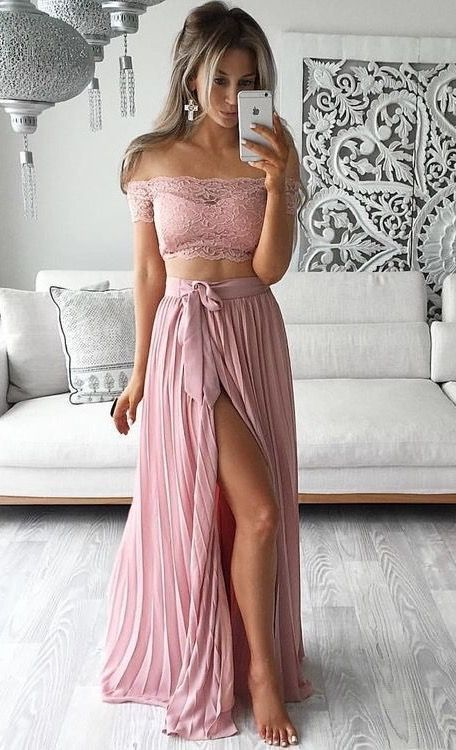 1261be8b3b11 Two Piece Short Sleeved Off The Shoulder Lace Top   Thigh High Slit Sexy  Evening Gowns