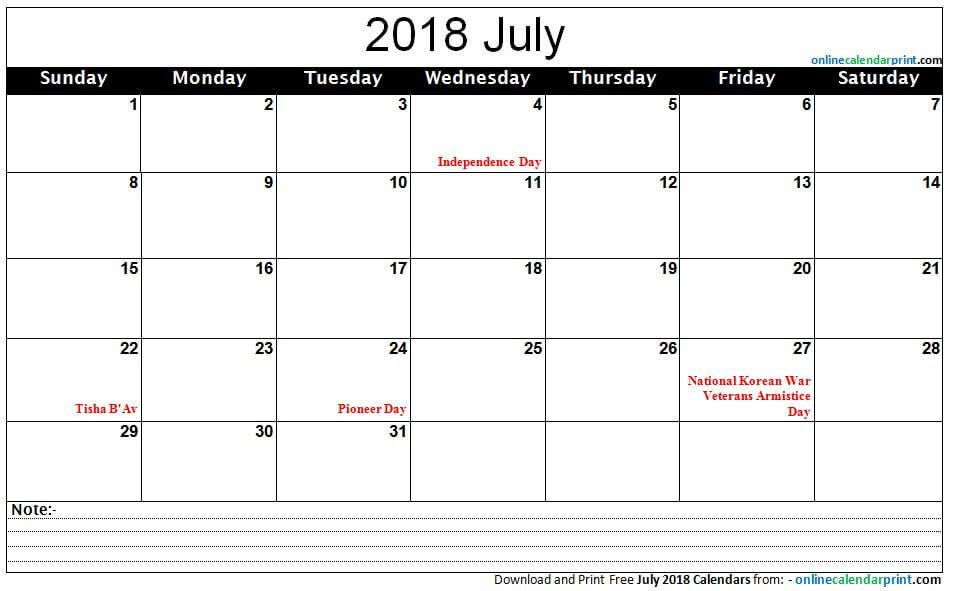 wwwonlinecalendarprint/july-calendar-2018-with-holidays