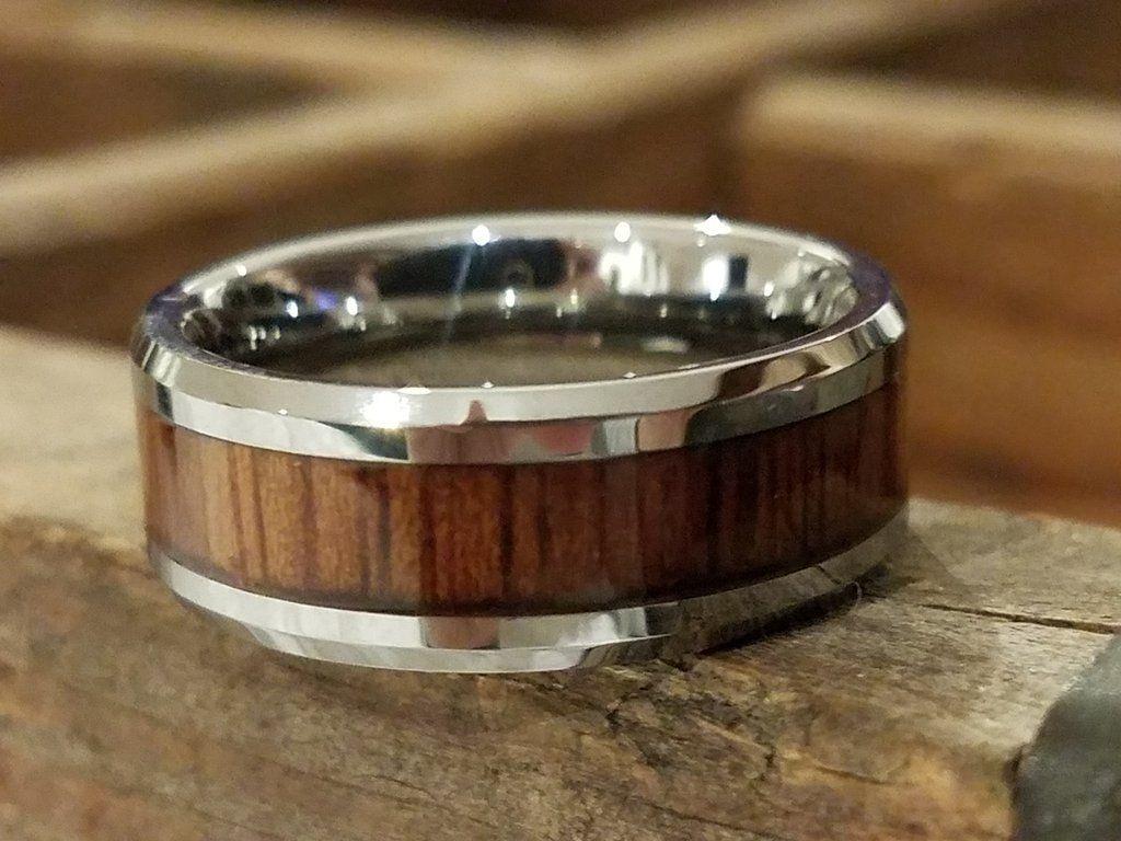 OAHU Men's Tungsten Wedding Ring with Koa Wood Inlay