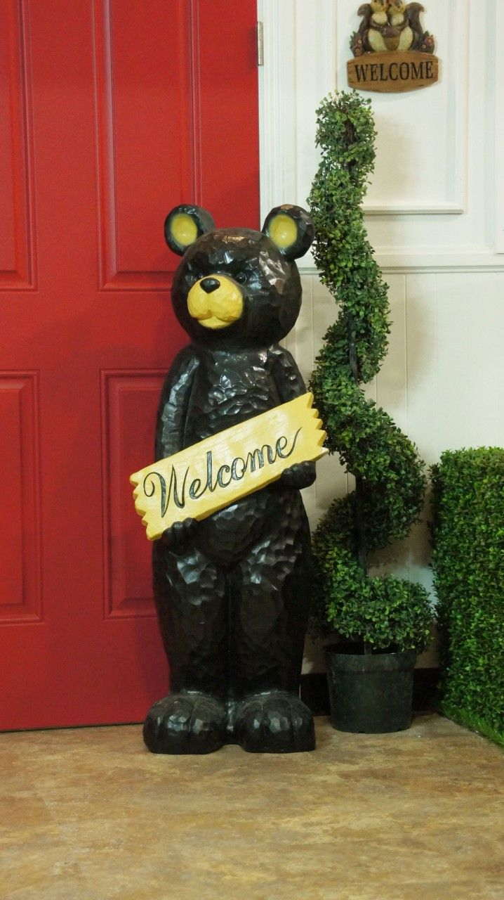 "47"" Black Bear Holding Welcome Sign Statuary from Alpine"