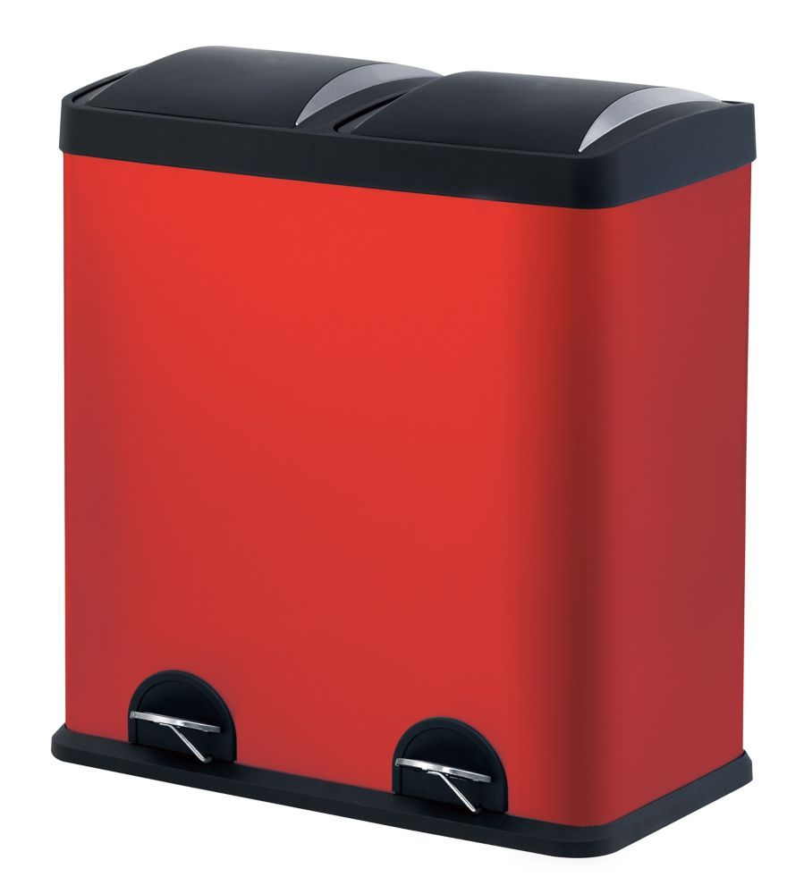 Step N Sort 60 Litre 2 Compartment Trash And Recycling Bin Red