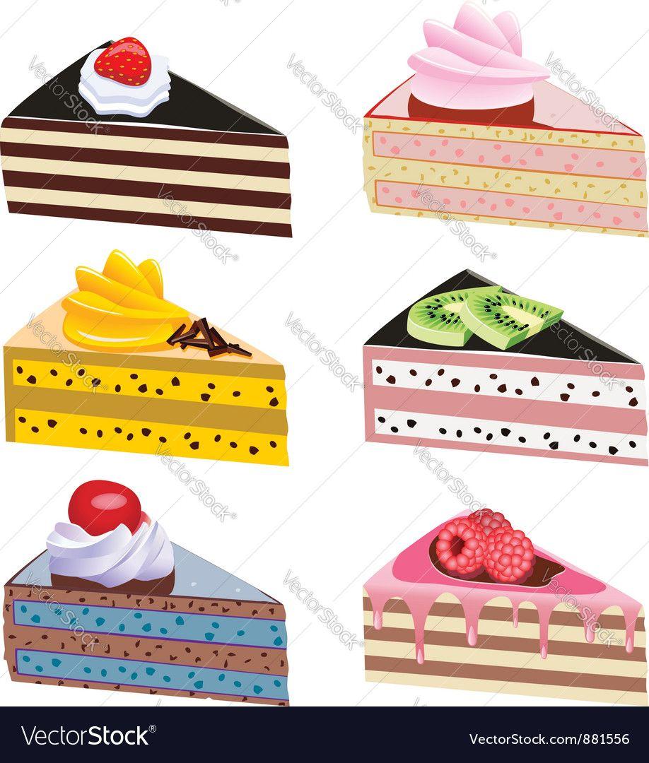 Cake Slices Vector Image On Vectorstock Cake Illustration Desserts Drawing Colorful Desserts