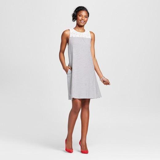 40260c56e185 Merona Women's Lace Yoke Striped Dress | Products | Striped dress ...