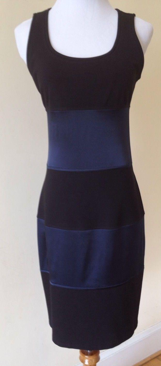 Diane Von Furstenberg Neiman Black Blue Silk Stretch Cocktail Dress ...