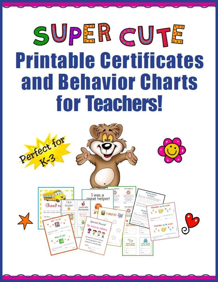 Free Super Cute Printable Certificates And Behavior Charts For