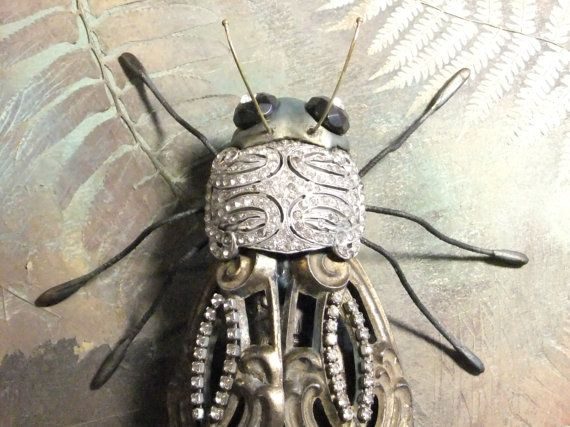 Beetle Insect Wall Art Brass Findings Antique by OneDegreeEast