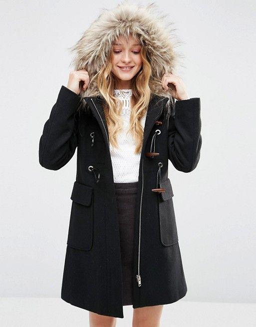 ASOS   ASOS - Montgomery in misto lana con cappuccio con pelliccia ...