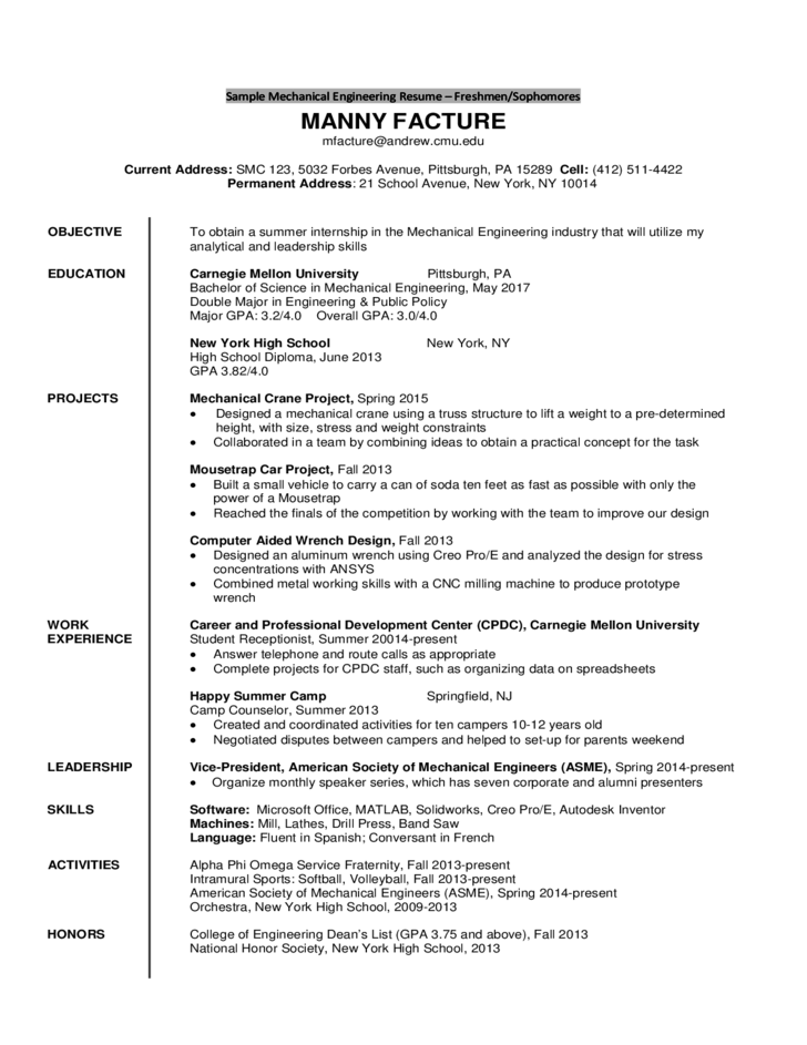Sample Mechanical Engineering Resume   Freshmen/Sophomores  Sample Mechanical Engineering Resume