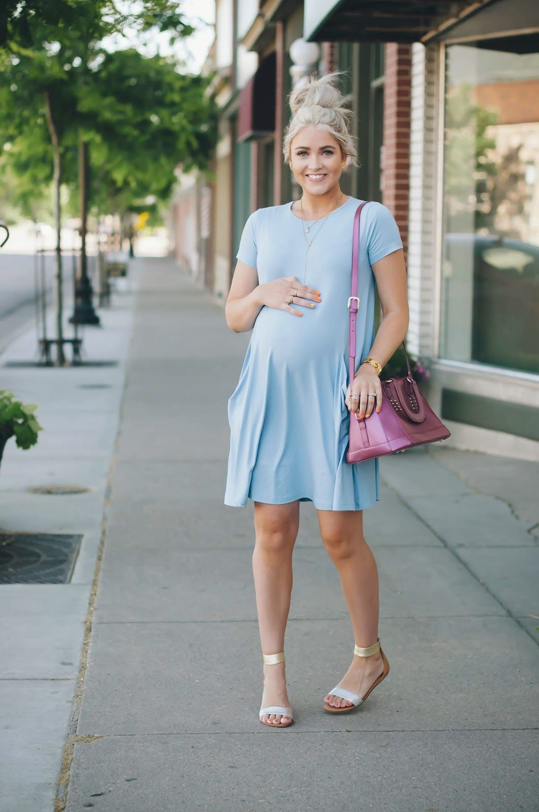 Sweet Blue Dress For Spring Maternitystyle Pregnancy Momstyle Mama Style Fashion Look Visit Www Circu