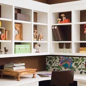 Dens/libraries/offices   Built In Desk, Desk Cubbies, Cubbies Over Desk