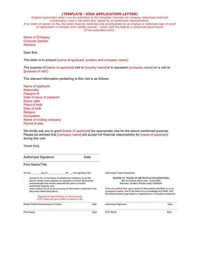 Format Of Super Visa Invitation Letter Notarized Sample