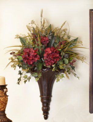 Chocolate Wall Sconce With Hydrangeas And Greenery Sc12 67