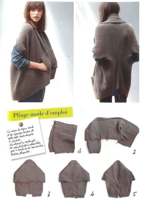 Chaleco cardigan de una pieza. Thisis knit however you could make it ...