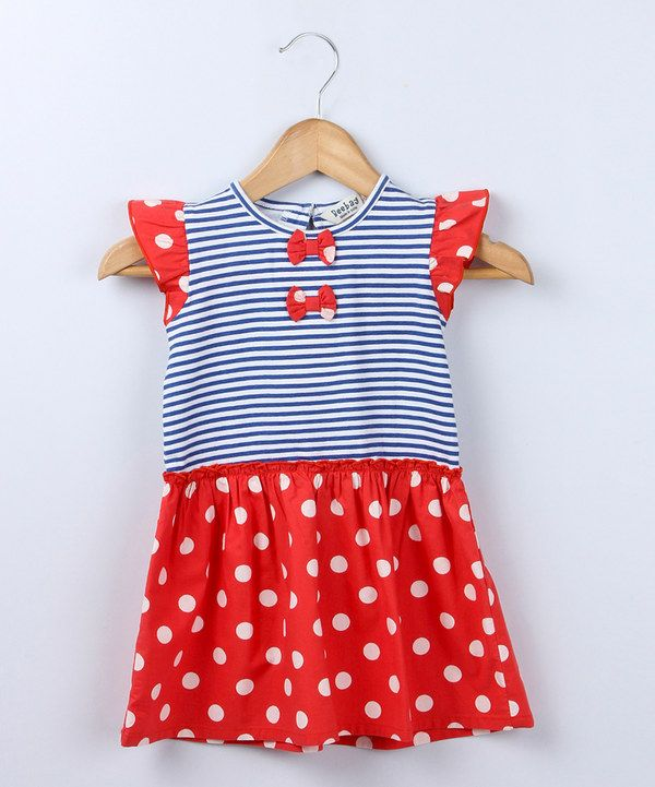 Loving this Red Polka Dot Bow Angel-Sleeve Dress - Infant, Toddler & Girls on #zulily! #zulilyfinds