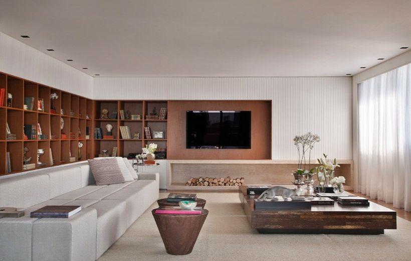 Haus Interieur in Weiß und dunklem Holz - Das Wohnzimmer Design ...