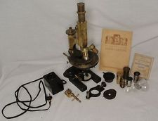 Carl zeiss jena no 30469 brass microscope slides lenses accessories