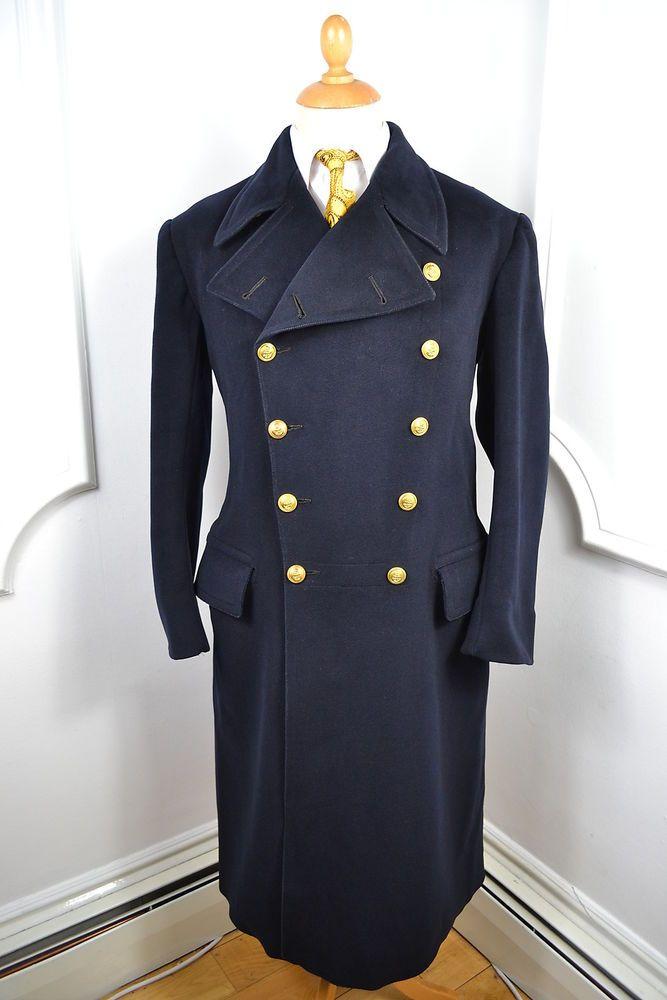 656448c4587 VINTAGE 1942 WW2 GIEVES SAVILE ROW BLUE NAVAL OFFICERS OVERCOAT COAT MED 40  REG