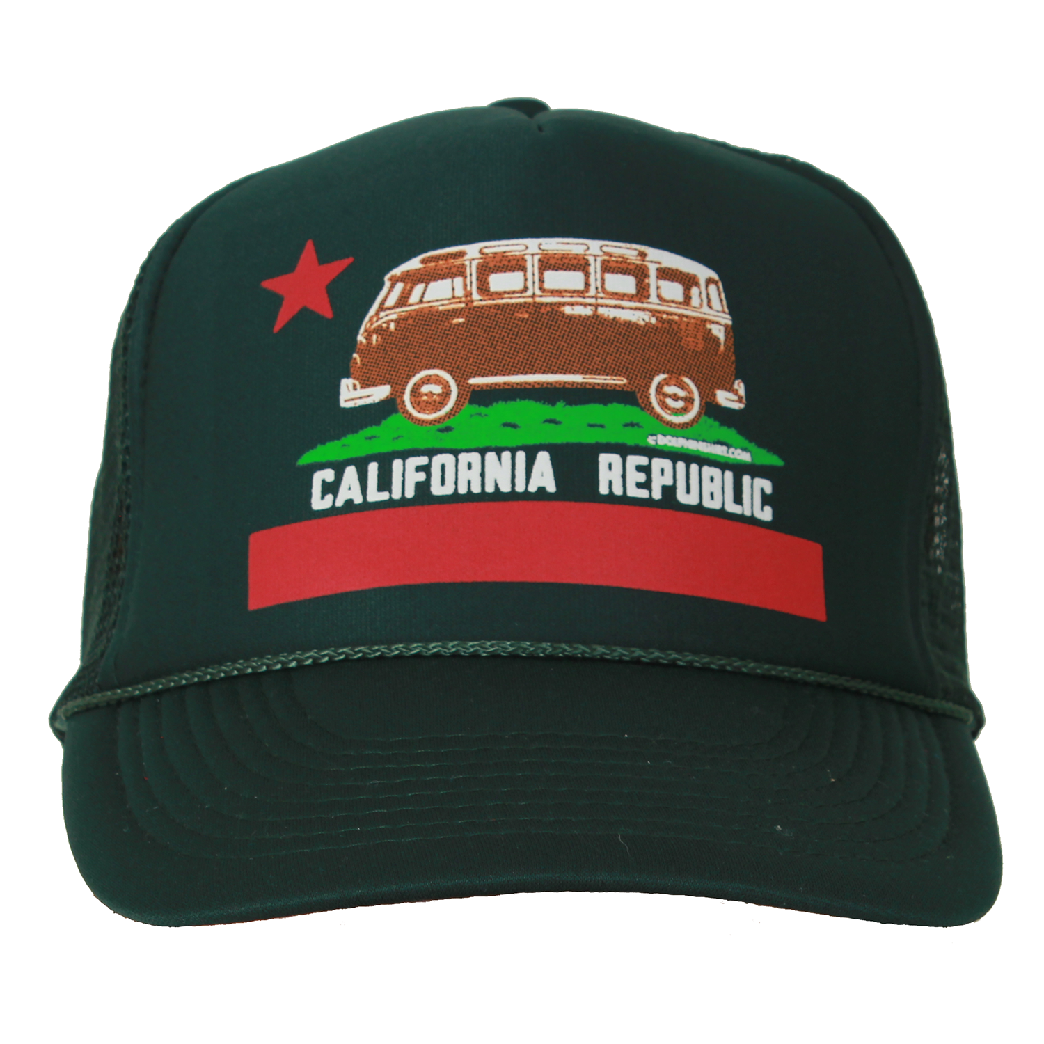 62687037752 California Republic Vintage Van Snapback Mesh Truckers Cap - Forest Green California  Flag