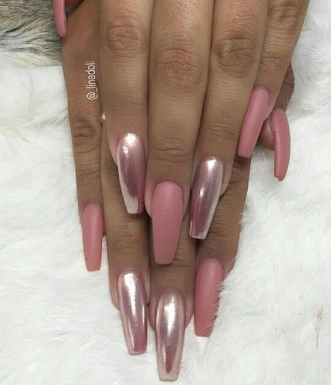 Long nails. Ballerina Nails. Rose pink nails. Chrome nails. Matte ...